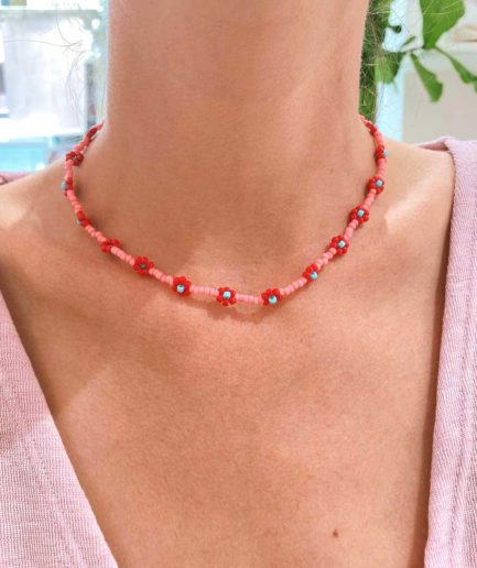 Collier Hua Et Toi Paris rose rouge