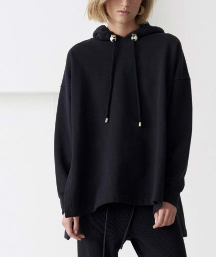 sweat capuche noir mylo mother of pearl